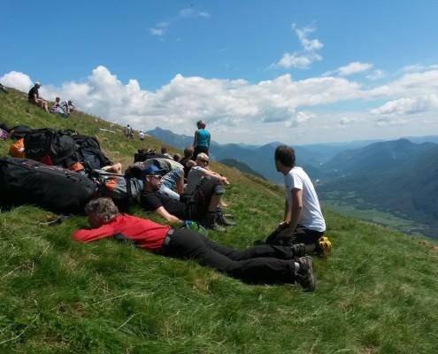Parawaiting Stol mit Blick auf Soca-Tal
