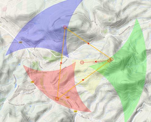 Ein Beispiel für ein Kleines Dreieck: Vom Merkur zum Battert, von dort zur Klosterwiese, nochmal am Startplatz vorbeischauen, dann landen gehen, ist ein FAI-Dreieck.