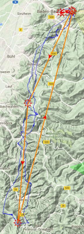 Einmal nach Oppenau und auf dem gleichen Weg zurück - sehr flach, aber ein Dreieck.
